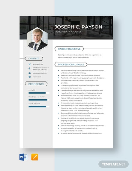 Health Data Analyst Resume Template