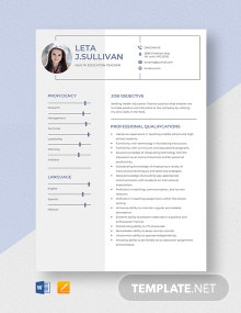 Health Education Teacher Resume Template