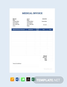Free Sample Medical Invoice Template