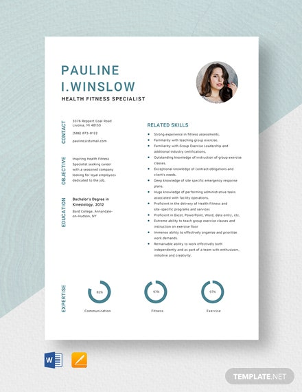 Health Fitness Specialist Resume Template