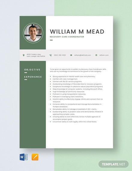 Recovery Care Coordinator Resume Template