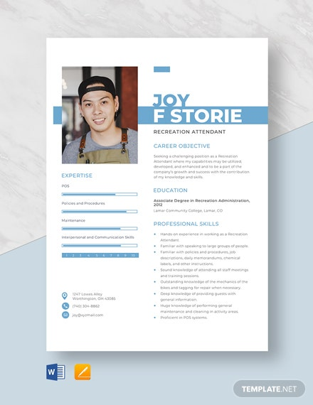Recreation Attendant Resume Template