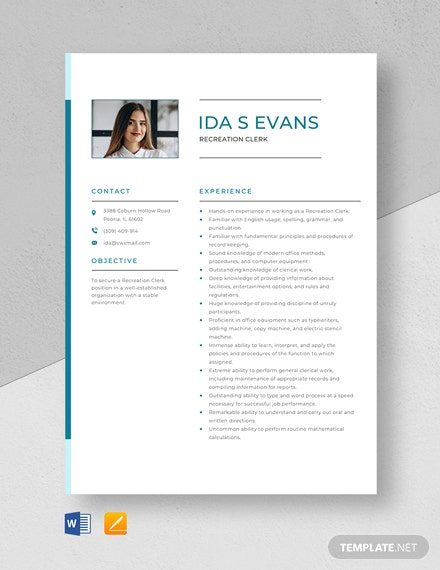 Recreation Clerk Resume Template