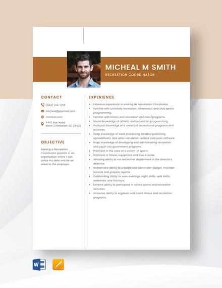 Recreation Coordinator Resume Template