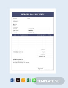 Free Modern Sales Invoice Template