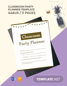 Classroom Party Planner Template