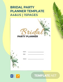 Bridal Party Planner Template