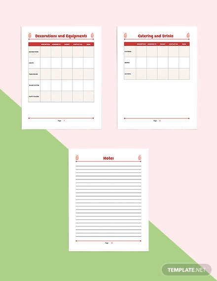 This is a graphic of Party Plan Template throughout note organizer