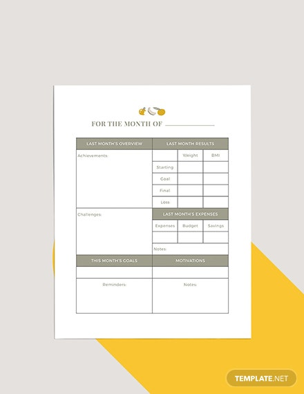 Diet Meal Planner Template
