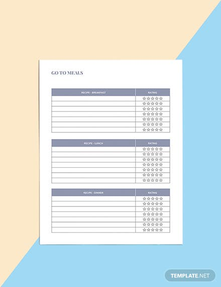 Family Meal Planner Template Example