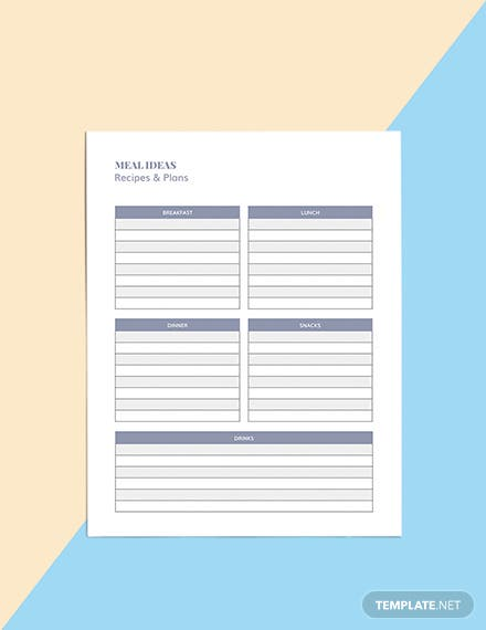 Family Meal Planner Template Format