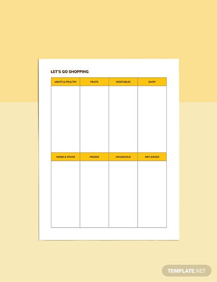 Lunch meal planner Template Example