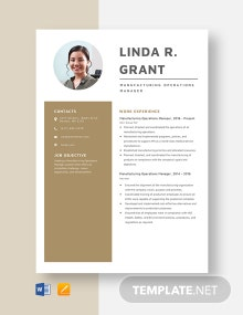 Manufacturing Operations Manager Resume Template
