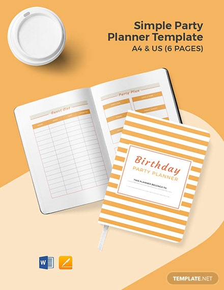 Free Simple Party Planner Template
