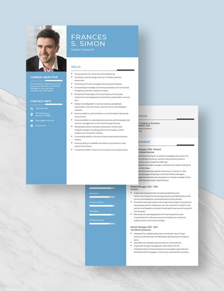 Market Manager Resume Download
