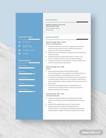 Market Manager Resume Template
