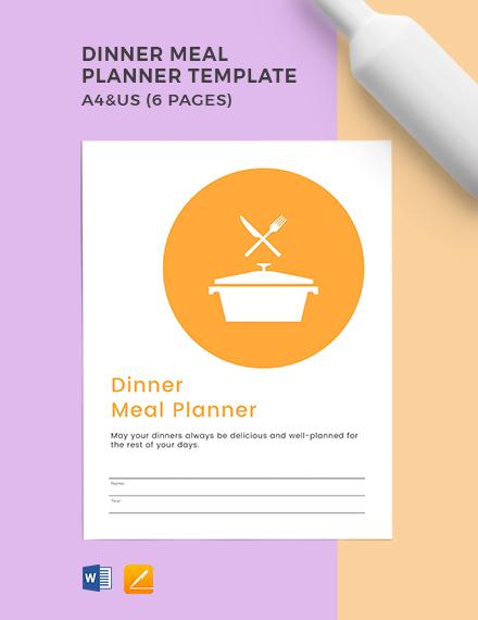 Dinner Meal Planner Template