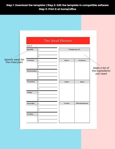 Meal Menu planner Printable