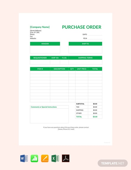 FREE Blank Purchase Order Template - PDF | Word (DOC ... on