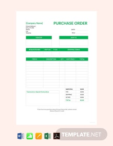 Free Blank Purchase Order Template