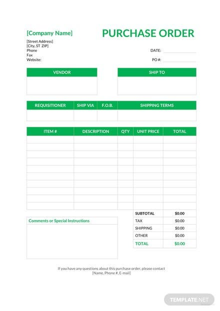 Free Blank Purchase Order Template: Download 38+ Order Templates in ...