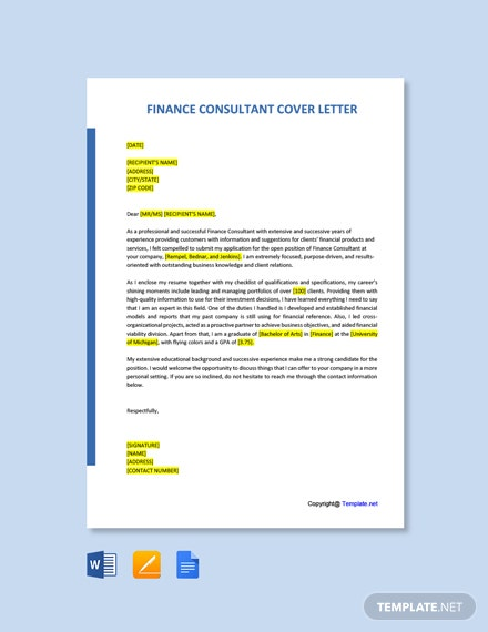Free Finance Consultant Cover Letter Template