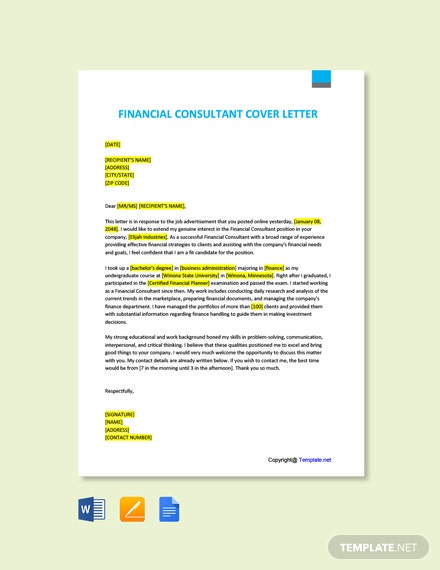 Free Financial Consultant Cover Letter Template