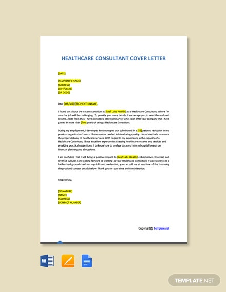 Free Healthcare Consultant Cover Letter Template
