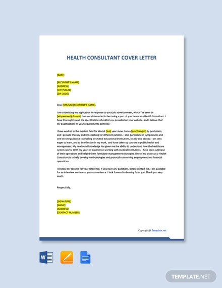 Free Health Consultant Cover Letter Template