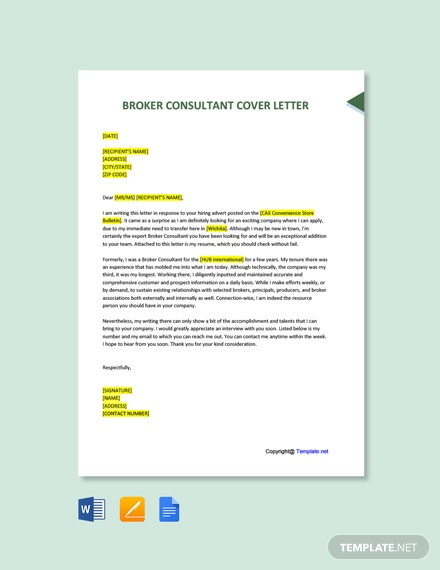 Free Broker Consultant Cover Letter Template
