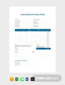 Free International Purchase Order Template