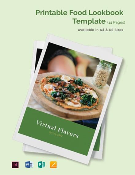 Free Printable Food Lookbook Template