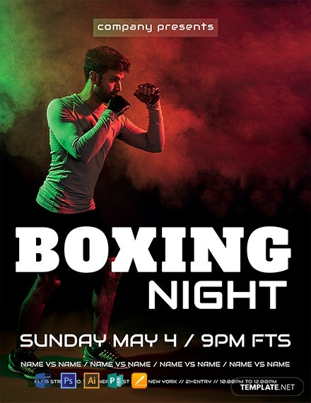 free boxing night flyer template 440x570 1