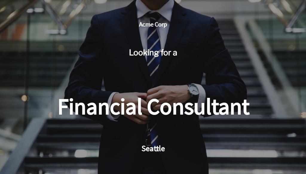 Financial Consultant Job Ad/Description Template