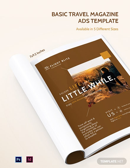 Basic Travel Magazine Ads Template