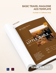 Free Basic Travel Magazine Ads Template
