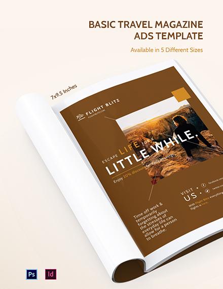 Basic Travel Magazine Ads Template