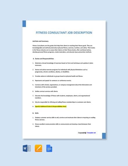 Free Fitness Consultant Job Ad/Description Template