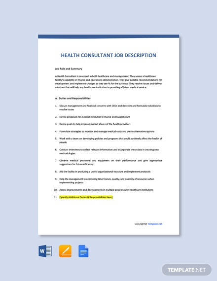 Free Health Consultant Job Ad/Description Template