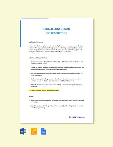 Free Broker Consultant Job Ad/Description Template