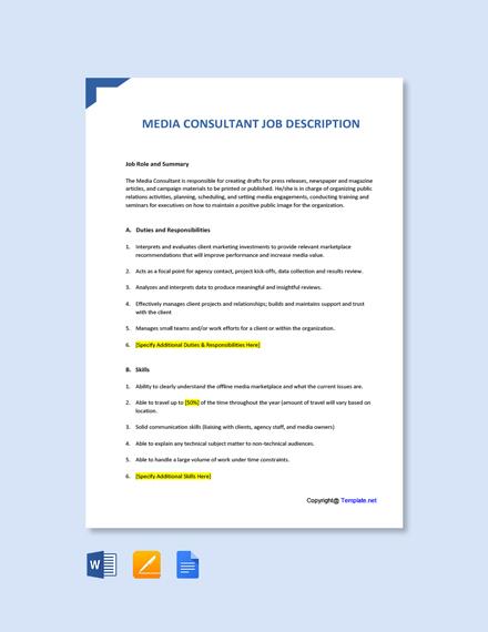 Free Media Consultant Job Ad/Description Template