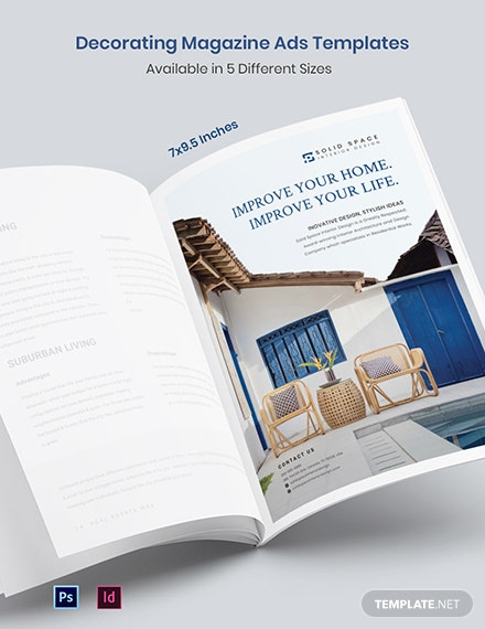 Decorating Magazine Ads Template