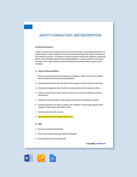 Free Safety Consultant Job Ad/Description Template