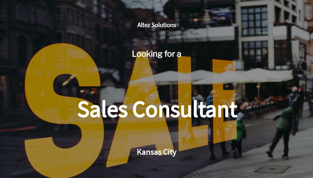 Sales Consultant Job Ad/Description Template