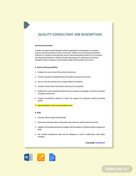 Free Quality Consultant Job Ad/Description Template