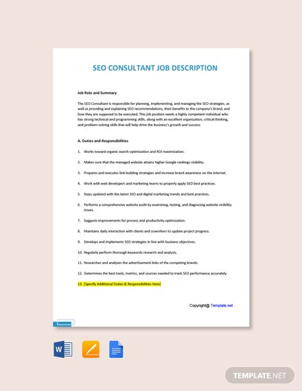 Free SEO Consultant Job Description Template