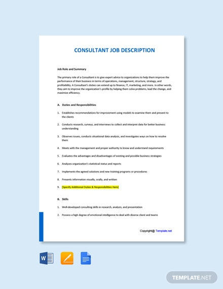 Free Consultant Job Ad/Description Template