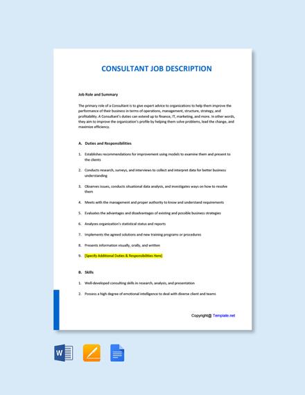 Free Consultant Job Ad/Description Template