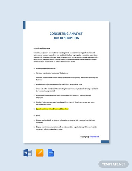Free Consulting Analyst Job Ad/Description Template