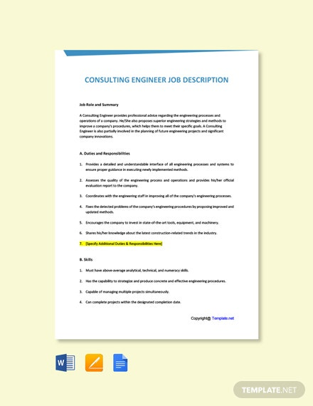 Free Consulting Engineer Job Description Template